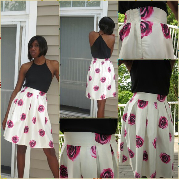 pink floral rose skirt ivory aliexpress free shipping midi skirt skater skirt pleated skirt