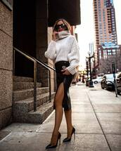 skirt,black skirt,faux leather,pointed toe pumps,black heels,white sweater,turtleneck sweater,black bag,gucci bag