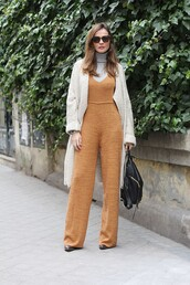 lady addict,blogger,jumpsuit,sunglasses,knitted cardigan,70s style,rust