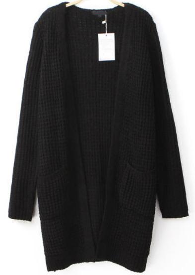 Black long sleeve pockets loose cardigan