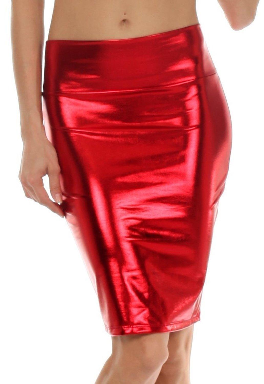 Amazon.com: AveryDance Women's Shiny Metallic Liquid High Waist Pencil Skirt: Clothing