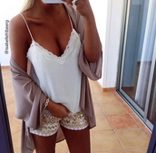 shorts,top,pretty,white,gold,summer,tan,lace,cardigan,beige,pink,blouse,silk,actec print,glitter,outfit,casual,party,sparkle,lace top,white top,cute top,tank top,white t-shirt,white crop tops,summer outfits,summer top,bralette,shirt