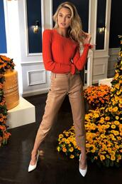 pants,sweater,pumps,instagram,romee strijd,model off-duty