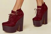 shoes,platform shoes,platform boots,high heels boots,ankle boots,burgundy shoes