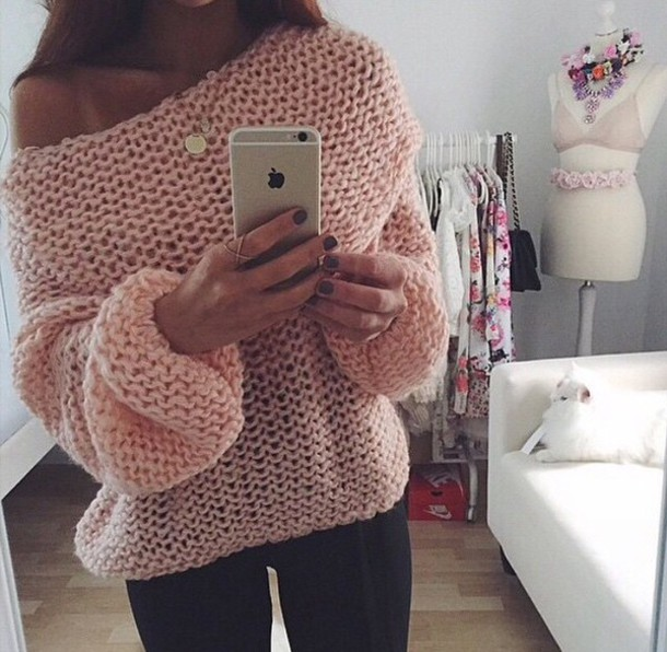 Sweater: winter sweater, pink, pink sweater, light pink, pullover ...