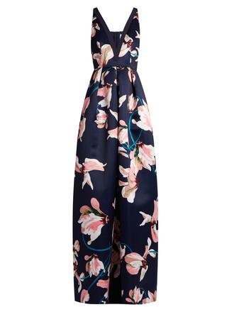 gown print satin pink dress