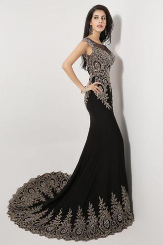 embroidery beaded dress sheer sleeveless mermaid evening dress chiffon