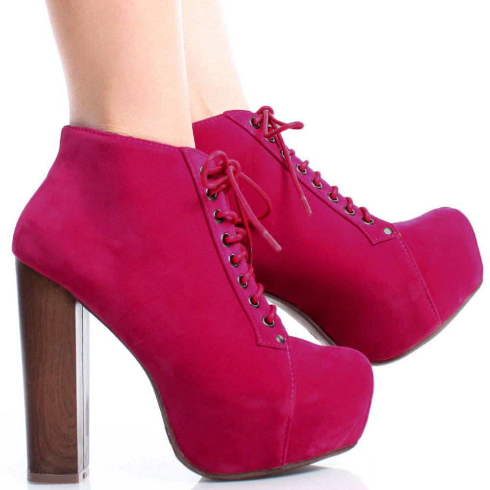 Pink Suede Lace Up Women Faux Wooden Chunky Heel Platform Ankle Boots Size 5 5 | eBay