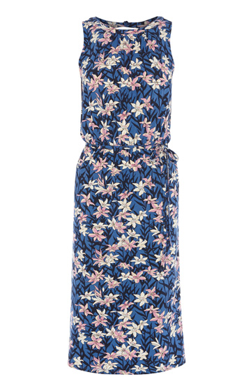 USA Dresses | Multi Lilly Blues Print Midi Dress  | Oasis