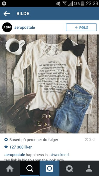 sweater white sweater white black black and white print quote on it lace lace back bow shoes pants boots writing black writing