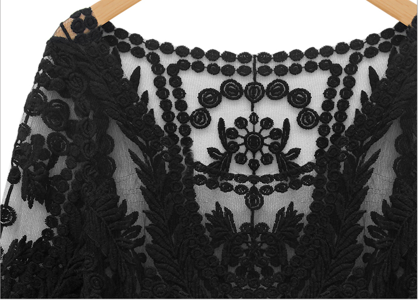 Black Long Sleeve Hollow Crochet Lace Blouse - Sheinside.com