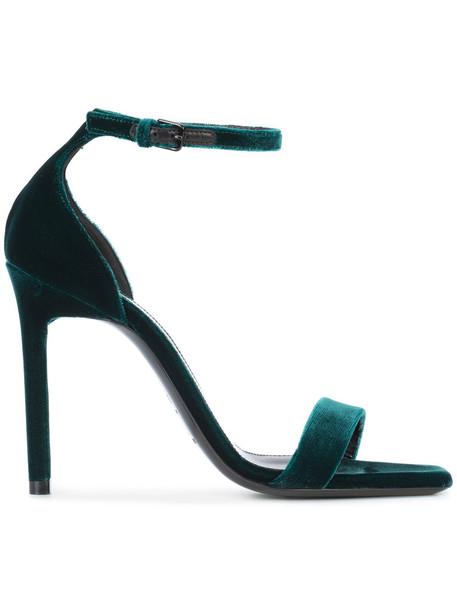 Saint Laurent women sandals leather velvet green shoes