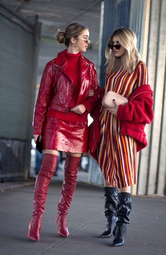 skirt mini skirt red skirt red sweater jacket red jacket leather jacket patent skirt boots red boots sunglasses over the knee boots streetstyle
