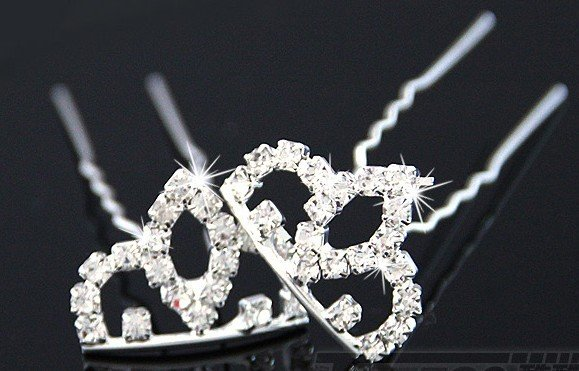 Free shipping wholesale hair accessories,full diamond princess crown hair sticks hairpin,hair fork 24 pcs/lot