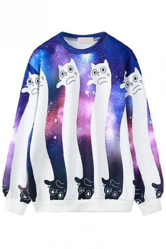 sweater fashion style cats funny cool cute long sleeves galaxy print beautifulhalo