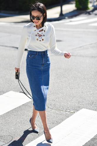 lace up long sleeves spring outfits lace up jumper white top denim skirt pencil skirt celine animal print sunglasses blogger celine sunglasses stilettos manolo blahnik fendi 9 to 5 derek lam