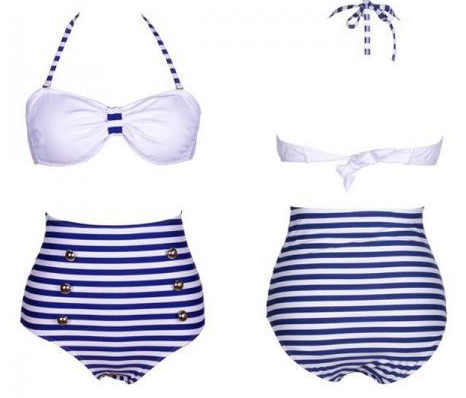 Navy Blue Stripes Swim Swimwears