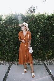 dress,hat,sunglasses,brown dresss,hoes,shoes,bag