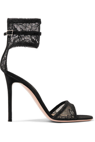 sandals lace suede black shoes