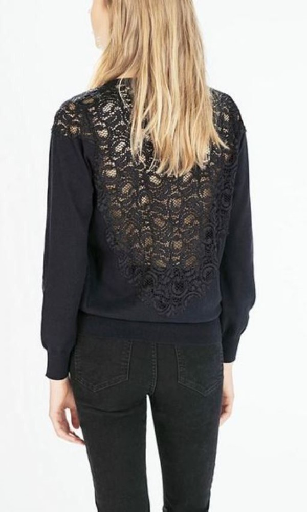 top black lace sheer back lace back top long sleeve top lace shoulders sheer lace www.ustrendy.com