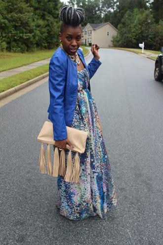 style is she blogger maxi dress fringed bag