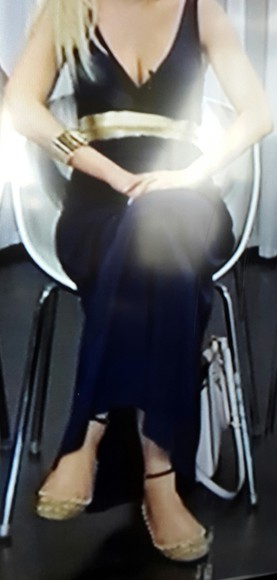 golden belt dark blue dress
