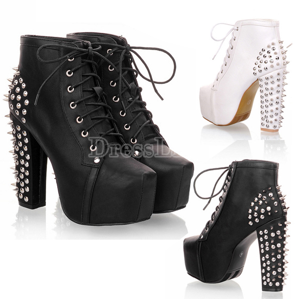 Women's Spike Stud Lace Up High Block Chunky Heel Platform Shoes Booties Boots
