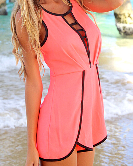 Sexy front hollow round neck sleeveless back zip neon orange loose jumpsuit with black border