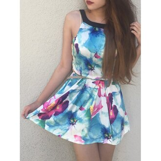 dress rose wholesale boho cute florql floral hippie summer girly fashion trendy halter top halter dress halter neck floral dress watercolor