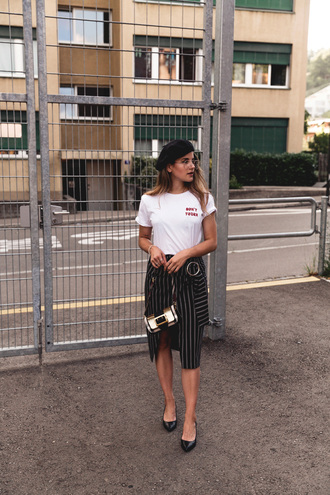 the fashion fraction blogger t-shirt skirt bag shoes white t-shirt striped skirt beret summer outfits asymetrical skirt tumblr midi skirt black skirt wrap skirt pencil skirt shoulder bag blogger style ballet flats slogan t-shirts