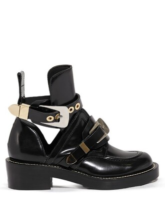 leather ankle boots cut-out boots ankle boots leather black shoes