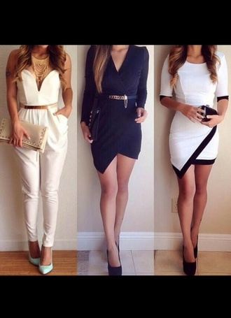 belt jumpsuit sleeves mid-sleeves one on the right asymmetrical