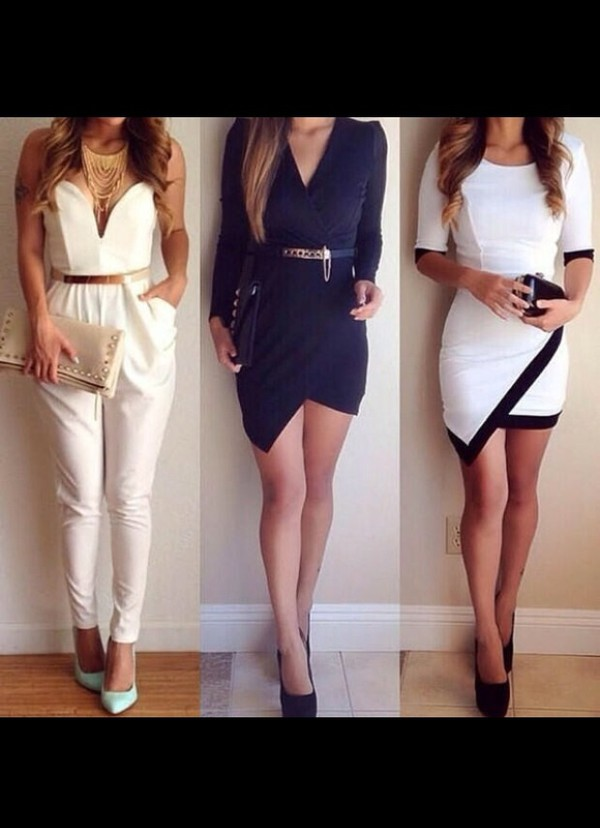 one on the right sleeves mid-sleeves asymmetrical dress jumpsuit belt