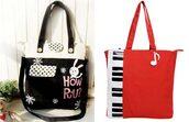 bag,black,white,red,bunny,piano,cute,tote bag