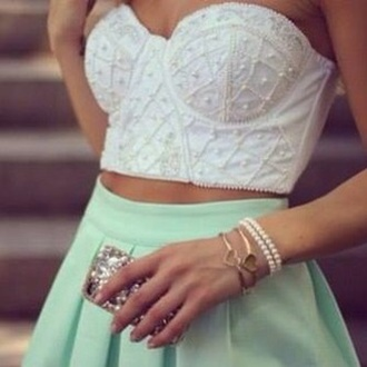 shirt skirt tank top white pearl crop tops top summer outfits bandeu bandeu top cute short white top