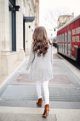 coat tumblr grey coat denim jeans white jeans skinny jeans boots high heels boots brown boots ankle boots brunette long hair hairstyles