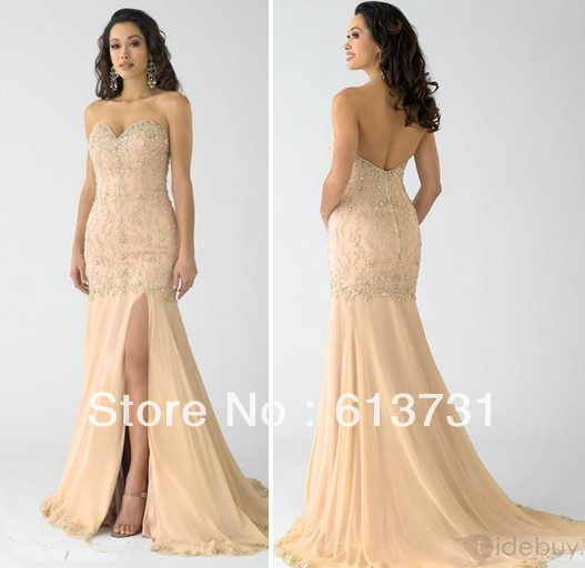 Wholesale   Nude Fabulous Mermaid Sweetheart Evening Prom Dresses Chiffon Long With Beads And Sequins 115270-in Prom Dresses from Apparel & Accessories on Aliexpress.com