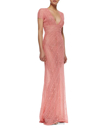 Naeem Khan Short Sleeve Lace Column Gown, Coral - Bergdorf Goodman