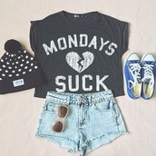 shorts,high waisted blue shorts,high waisted skinny light blue jeans,high waisted light blue jeans,shirt,hat,shoes,mini shorts,t-shirt,mondays suck,grey,summerhype,summerlife,blouse,short,quote on it,black,black and white,black crop top,crop tops,top,tank top,fashion,style,love,monday,monday t-shirt,quote croptop,girly,girly outfits tumblr,girl shirts,funny,funny shirt,funny quote shirt,clothes,fabulous,outfit