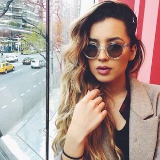 sunglasses trendy glasses pea coat ombre classy ombre hair coat blouse