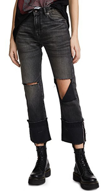 R13 jeans straight jeans high black