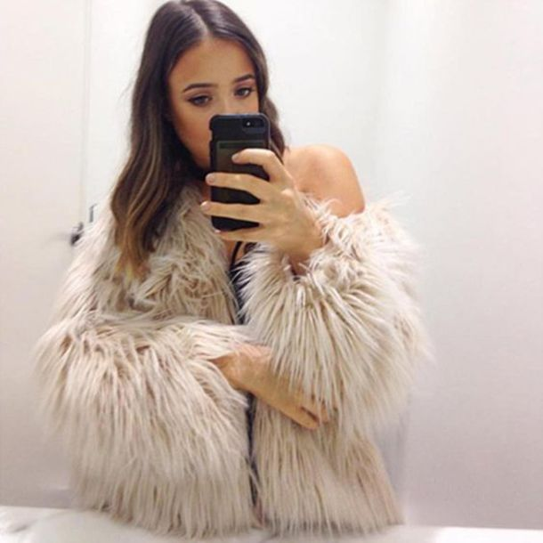 jacket faux fur beige faux fur beige fall outfits winter outfits chic expensive look
