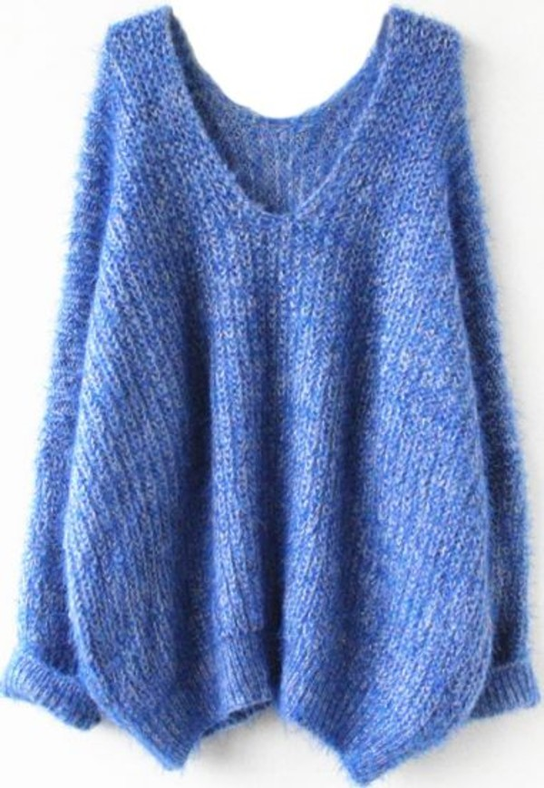 sweater mohair blue long sleeves comfy