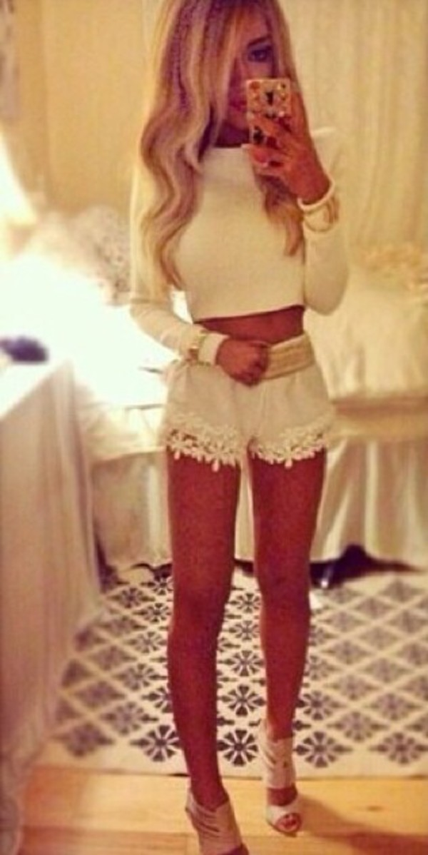 shorts white lace crochet ebonylace.storenvy ebonylace.storenvy ebonylace247 ebonylace-streetfashion