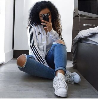 jacket white jacket black white adidas silver girl summer super stars black jacket black and white adidas jacket adidas superstars silver shoes adidas shoes adidas originals sneakers girl adidas sneaker girls sneakers style fashion swag streetstyle nike nike jacket calvin klein bikini underwear stripes bomber jacket