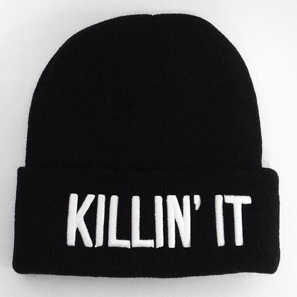 hat beanie black killin it white