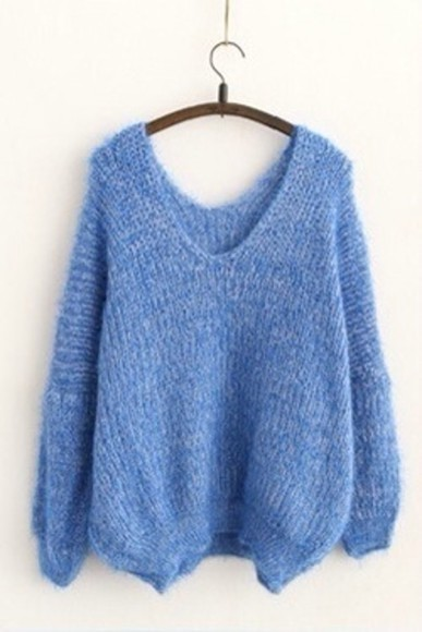 knit sweater jumper sky blue blue jumper tumblr fashion light blue baggy sweater