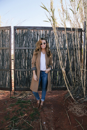 the day book,blogger,jeans,camel coat,shoes,t-shirt,coat,sunglasses,jewels