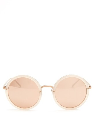 oversized rose sunglasses gold pink