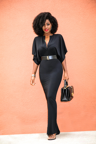 blogger dress belt bag shoes ysl black dress maxi dress handbag
